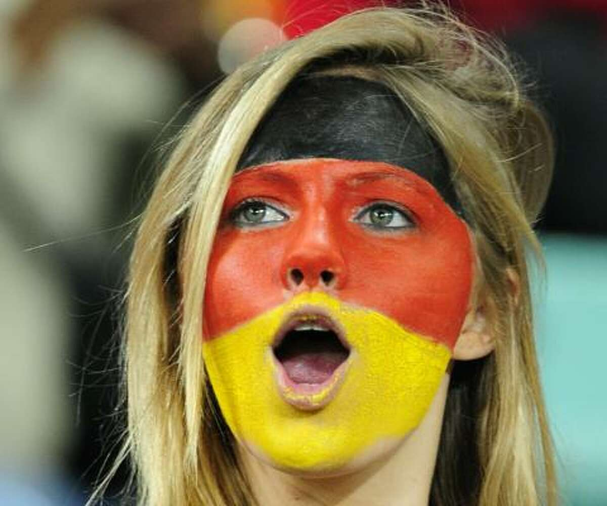 It's not going well for a German fan at Moses Mabhida stadium in Durban, where the team lost to Spain in the semifinals.
