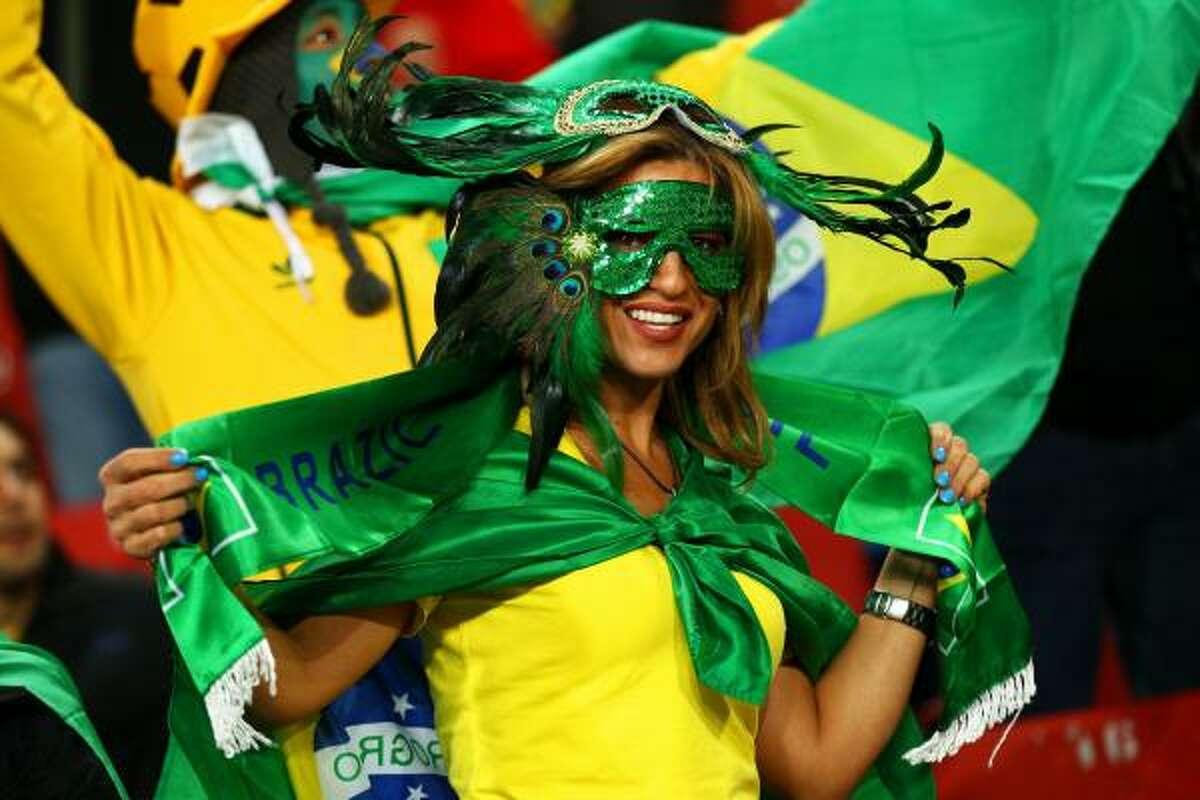 A Brazil fan enjoys the atmosphere at Ellis Park Stadium on June 28 in Johannesburg.