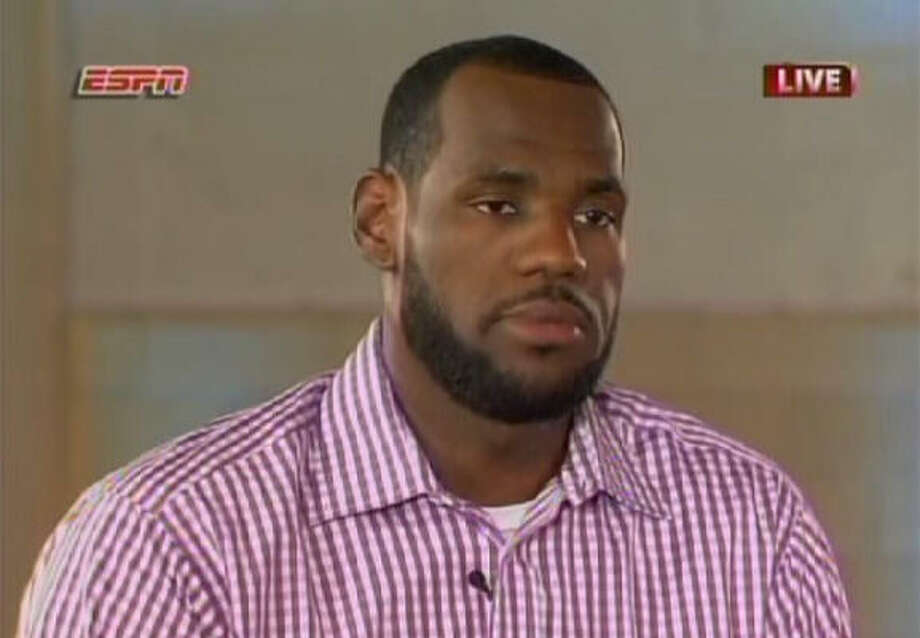 """July 8, 2010In a one-hour ESPN special called """"The Decision,"""" LeBron James announced to the world that he had decided to leave the Cleveland Cavaliers, who drafted him No. 1 overall in 2003, after seven seasons and join fellow superstars Dwyane Wade and Chris Bosh on the Miami Heat. During his tenure in Cleveland, James averaged 29.7 points, 8.6 assists and 7.3 rebounds and won two MVP trophies. Photo: AP"""