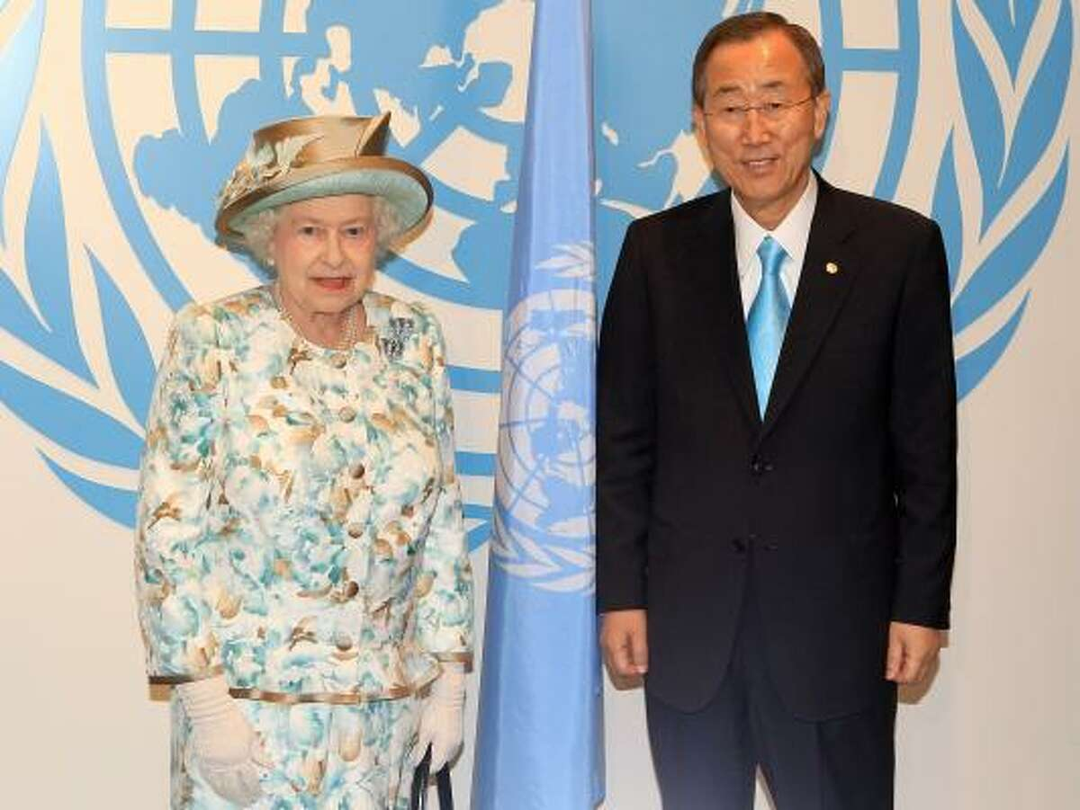 Queen Elizabeth II poses with Ban Ki Moon as she prepares to address the United Nations at the UN Headquarters on July 6, 2010 in New York City.