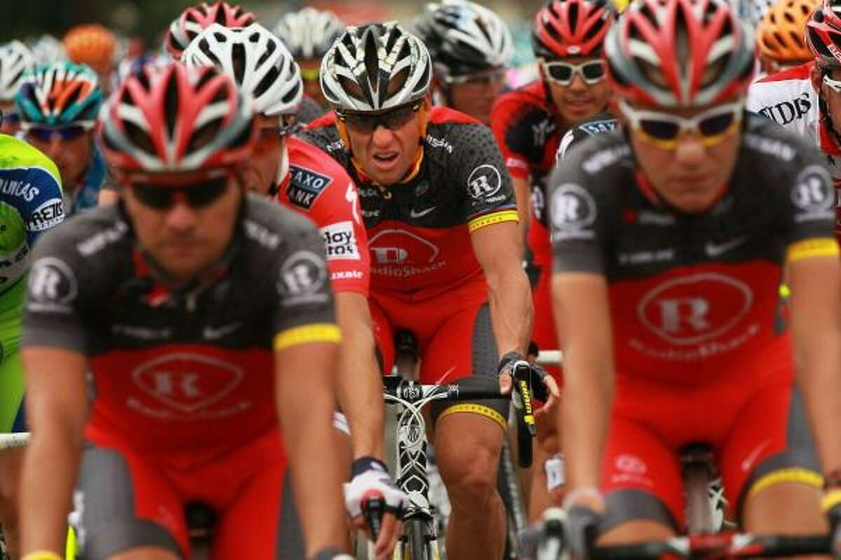 American Lance Armstrong, center, with team RadioShack is viewed along stage 2. The iconic bicycle race will include a total of 20 stages and will cover 3,642km before concluding in Paris on July 25.