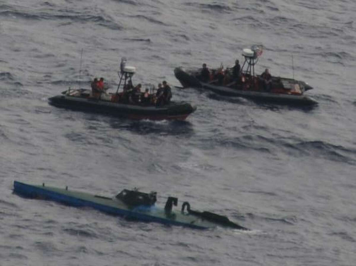 A U.S. Coast Guard cutter, guided by aircraft from Customs and Border Protection, captured this so-called