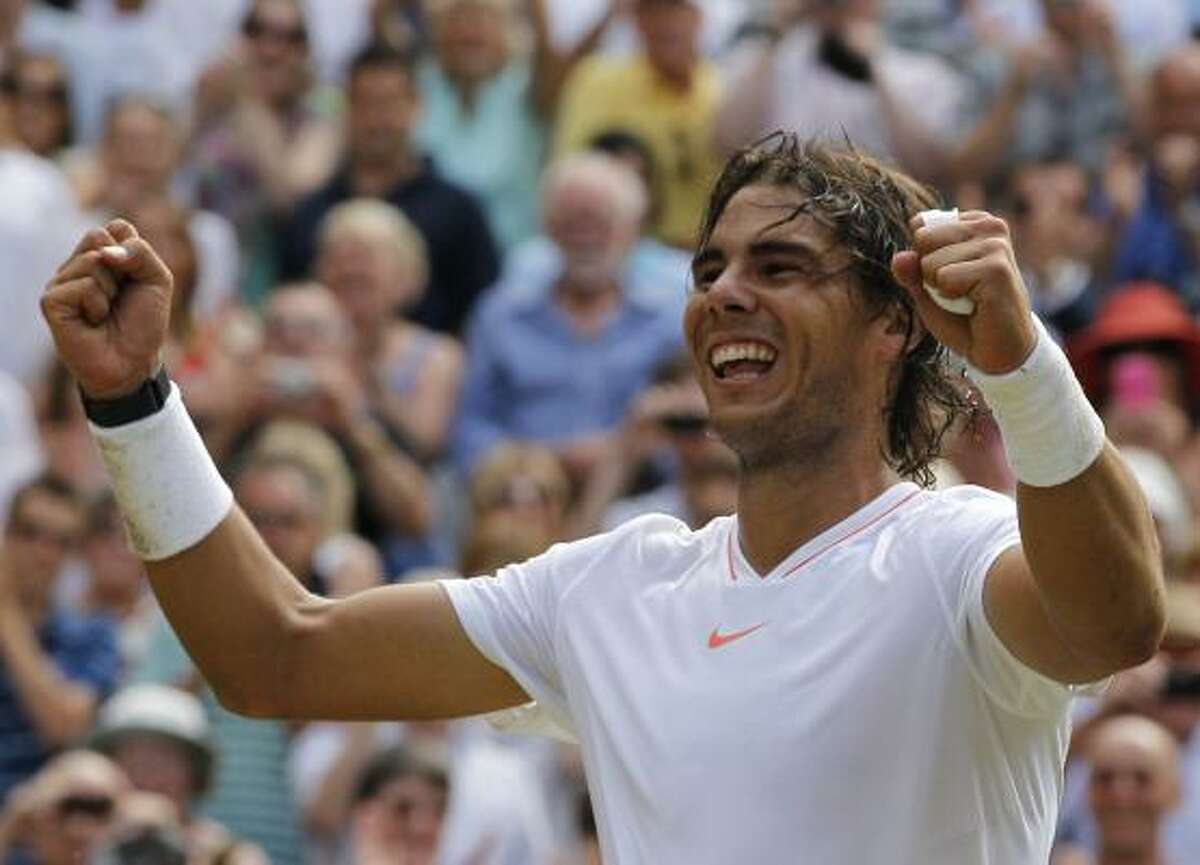 July 4 Rafael Nadal reacts after defeating Tomas Berdych in the final.