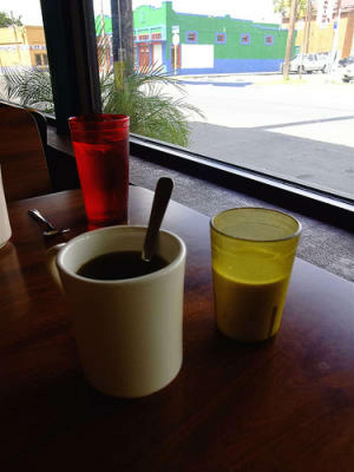 Coffee service at Taco Haven in San Antonio. Note milk delivered in