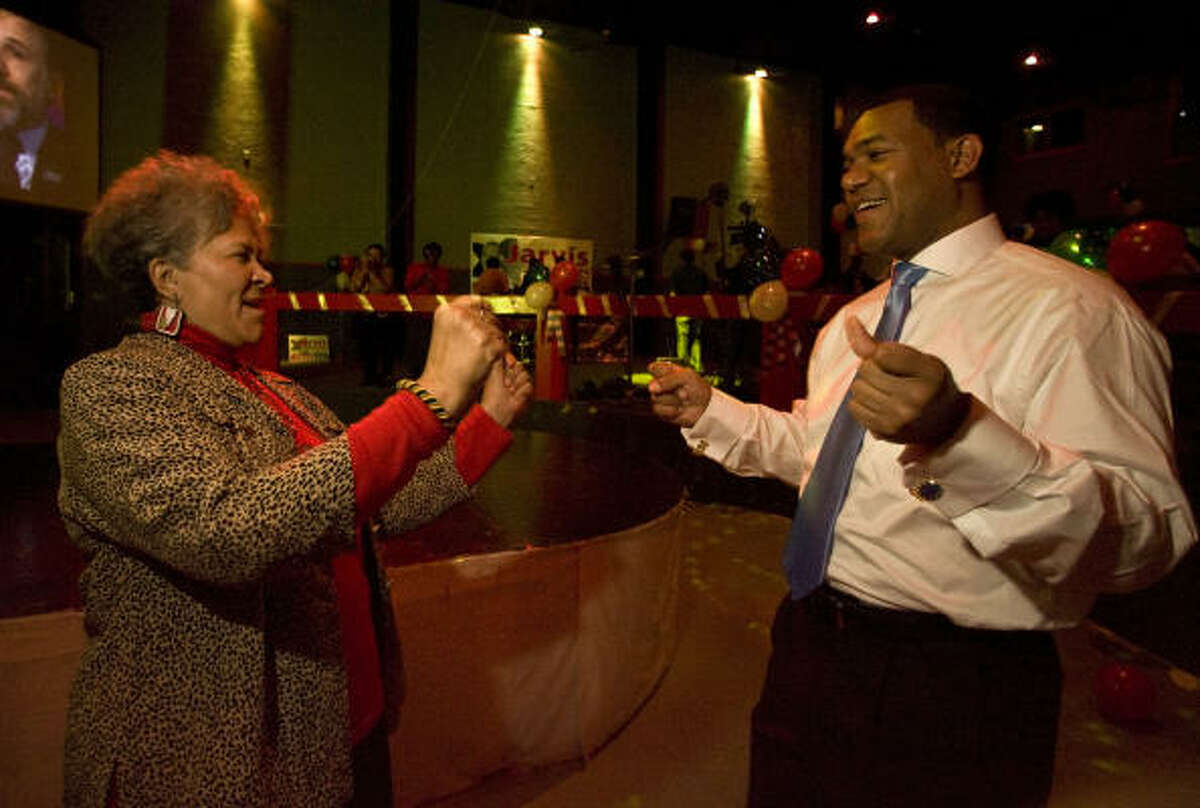 Jarvis Johnson dances with his mother, Cleo Glenn Johnson-McLaughlin, at his election watch party at Club Avante Guard Tuesday, March 2, 2010, in Houston. Johnson was a Democratic Candidate for U.S. Congress 18th District of Texas.