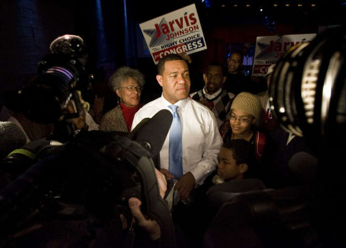 Jarvis Johnson speaks with supporters at his election watch party at Club Avante Guard Tuesday, March 2, 2010, in Houston. Johnson was a Democratic Candidate for U.S. Congress 18th District of Texas.