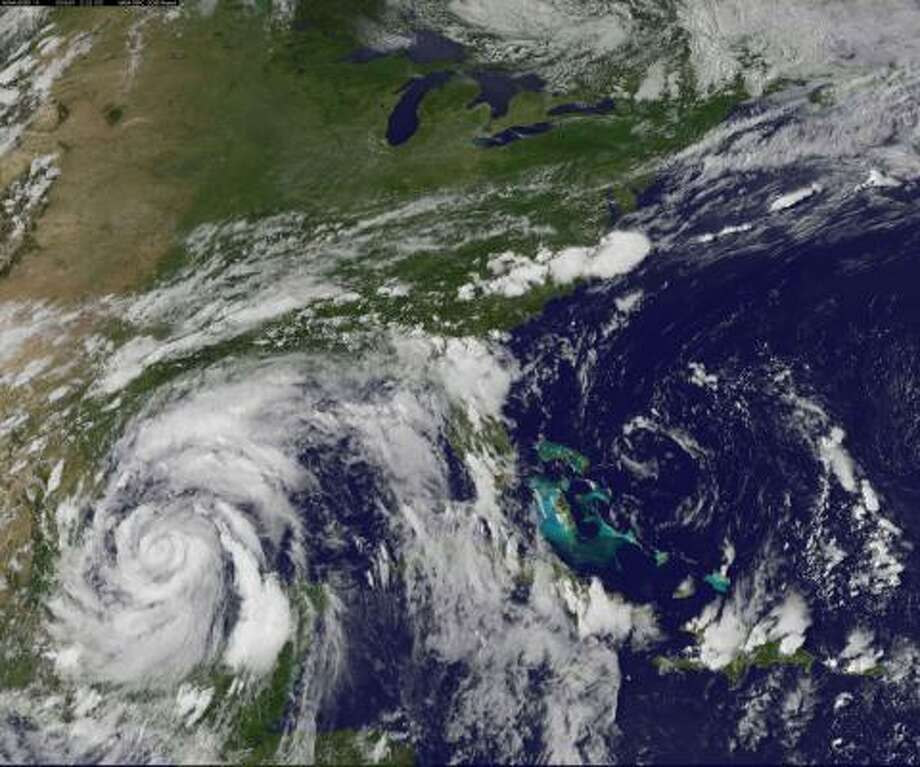 This image, taken at 4:32 p.m. CDT Tuesday, shows Alex churning through the western Gulf. Photo: NOAA/AP