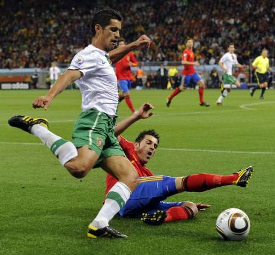 Player: Ricardo CostaGame: Portugal vs. SpainOffense: Elbowed Spanish left back Joan Capdevila in the head Photo: Daniel Ochoa De Olza, AP