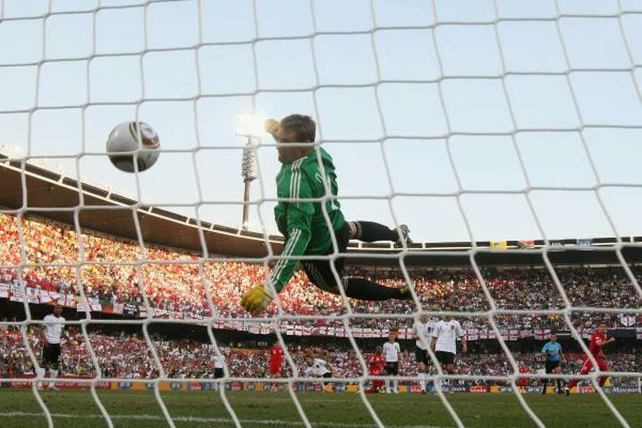 Germany 4, England 1In the 38th minute of the second-round game, with England behind 2-1, Frank Lampard sent a shot off the crossbar. The ball came straight down at least a foot inside the goal line, but referee Jorge Larrionda waved play to continue. Television replays confirmed the ball was in the net. Photo: Joern Pollex, Getty Images