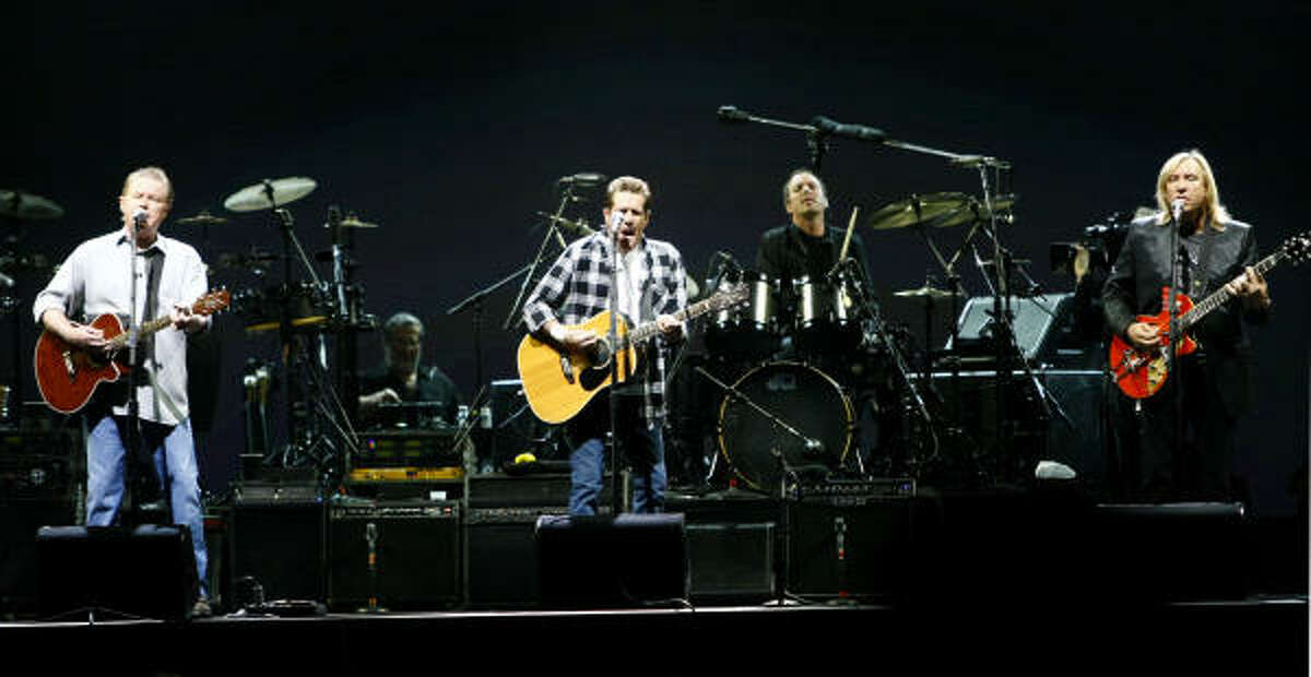Don Henley, left, Glenn Frey and Joe Walsh