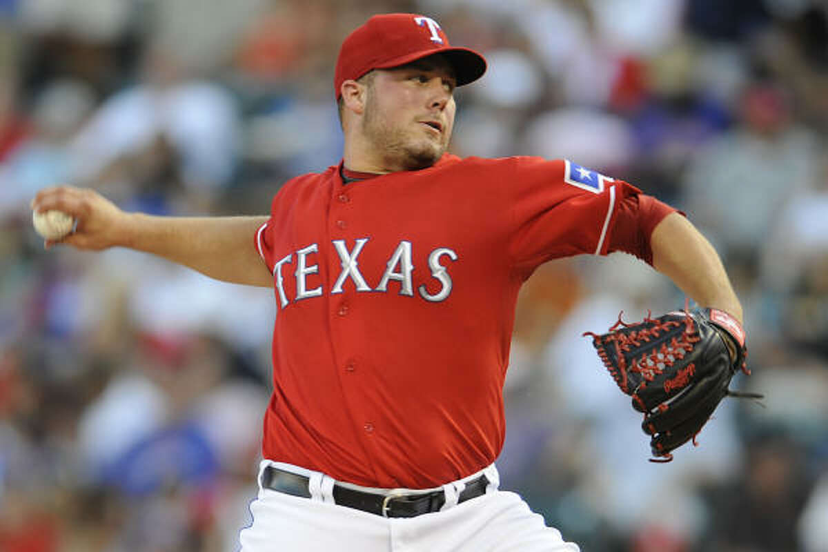 Rangers starter Tommy Hunter allowed only one run on five hits in six innings to improve to 4-0.