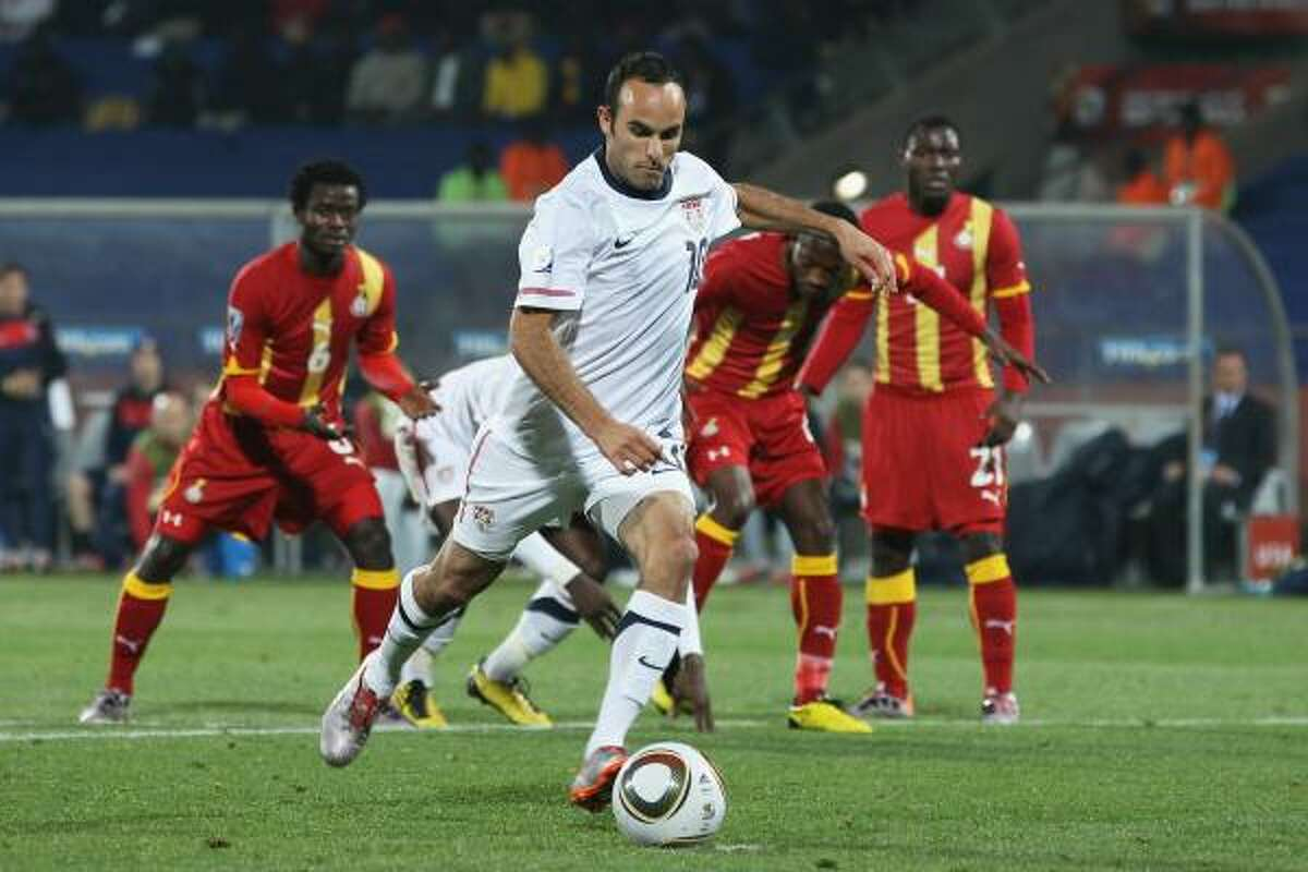 Landon Donovan scored from the penalty spot in the second half to Saturday's second-round match against Ghana to tie the match at 1, but the United States fell 2-1 in overtime.