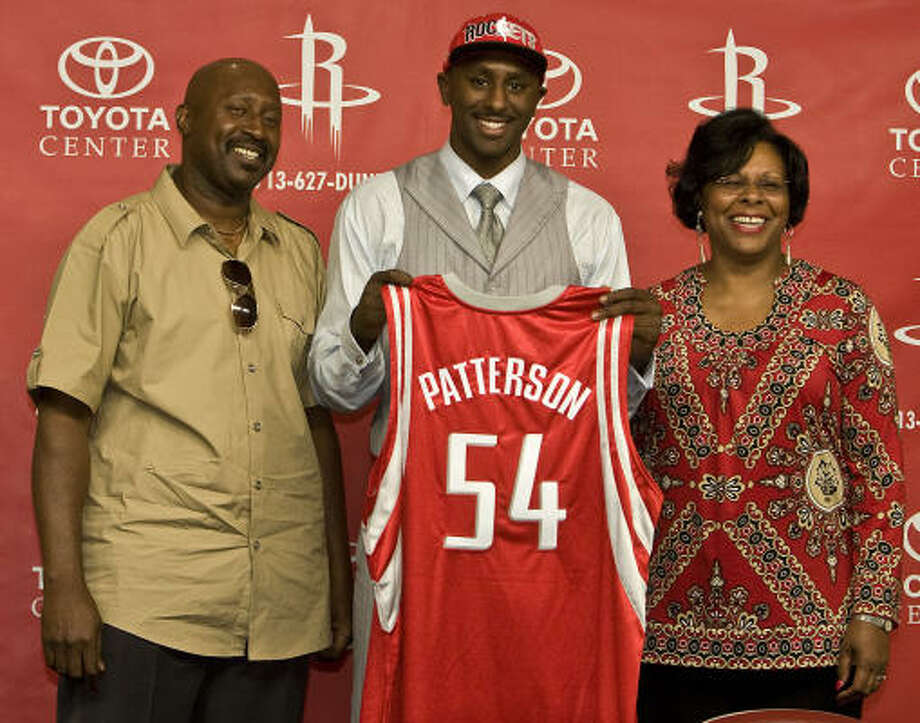 The Rockets introduced first-round draft pick and former Kentucky forward Patrick Patterson at a press conference Friday at Toyota Center. Patterson, who appeared with his mother, Tywanna, and his father, Buster, was taken with the No. 14 overall selection in Thursday's NBA draft. Photo: James Nielsen, Chronicle