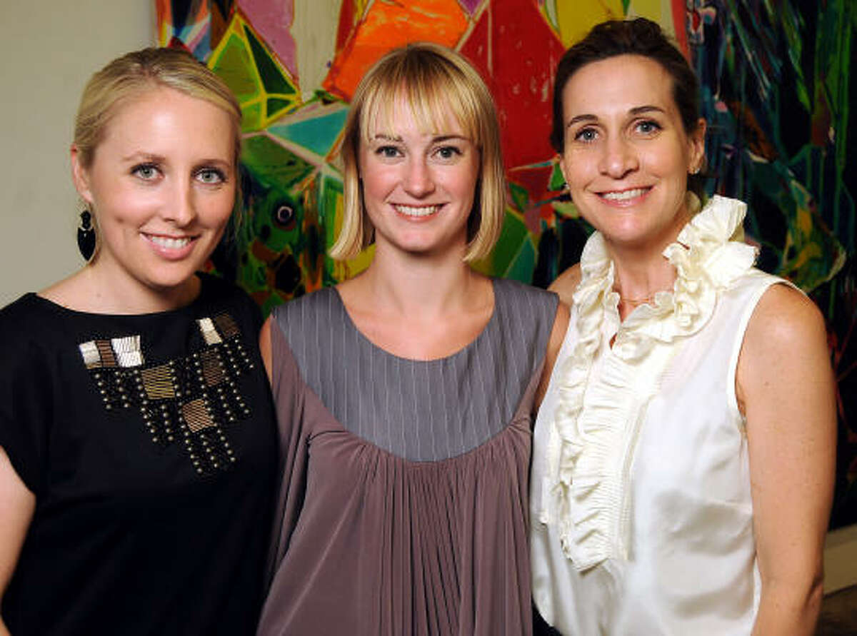 From left: Liz Anders, Adrienne Johnson and Julie Kinzelman at a reception introducing Isabella Court on Main Street as a contemporary art destination.
