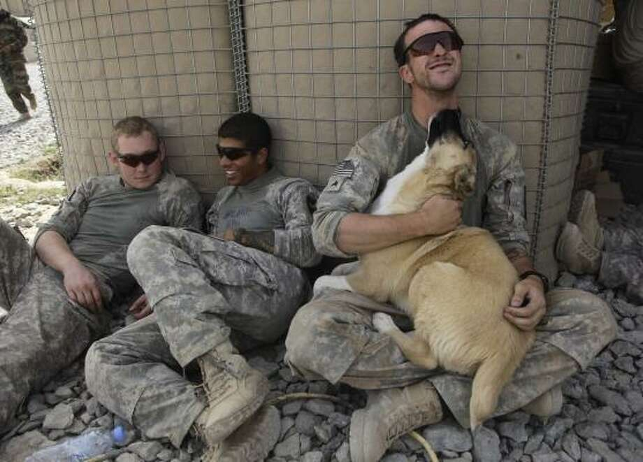 U.S. Army Sgt. Sean Henry plays with Ranger, an Afghan puppy that lives at the outpost, while taking a rest with Spc. Jason Purdy, left, and Spc. Jeffrey Ortiz  after a foot patrol with 1st Platoon, Charlie Company, 2nd Battalion, 1st Infantry Regiment, of the 5th Styker Brigade in Afghanistan's Kandahar province. Photo: Julie Jacobson, AP