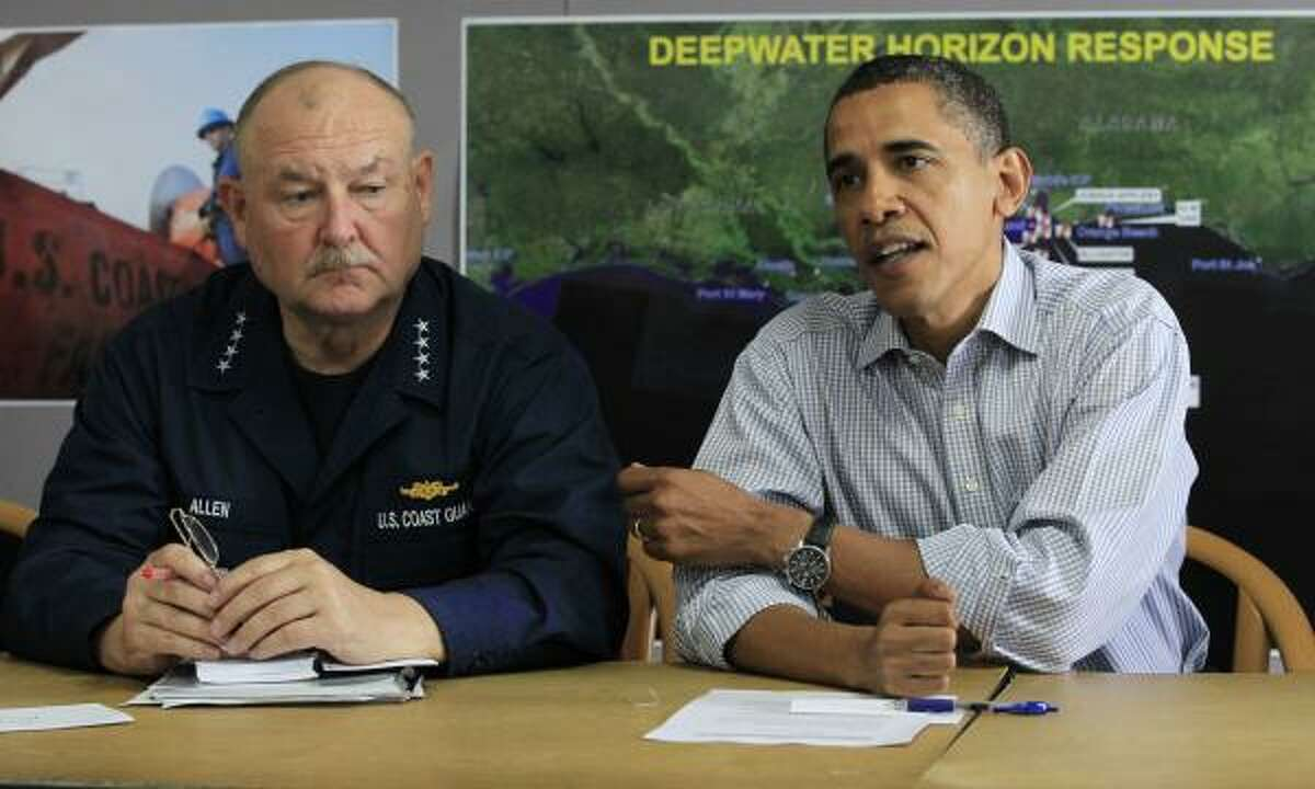 President Barack Obama, accompanied by by National Incident Commander Adm. Thad Allen, makes a statement after he was briefed on the BP oil spill relief efforts in the Gulf Coast region, Friday, June 4, 2010, at Louis Armstrong International New Orleans Airport in Kenner, La.