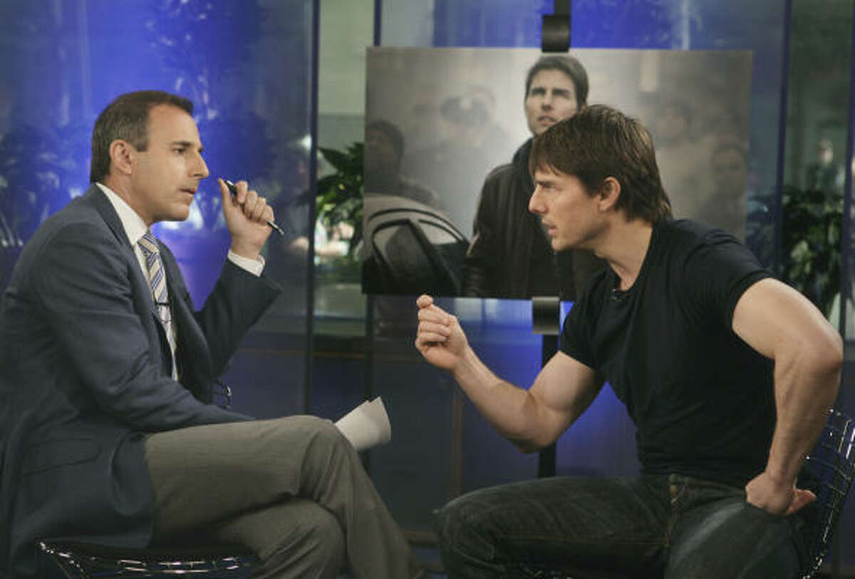 In 1990, Cruise renounced his Catholic upbringing for the Church of Scientology. His firm beliefs led to many rumors for years to come. In this photo, Cruise, right, got into a heated discussion with talk show co-host Matt Lauer during the telecast of NBCs Today Show.