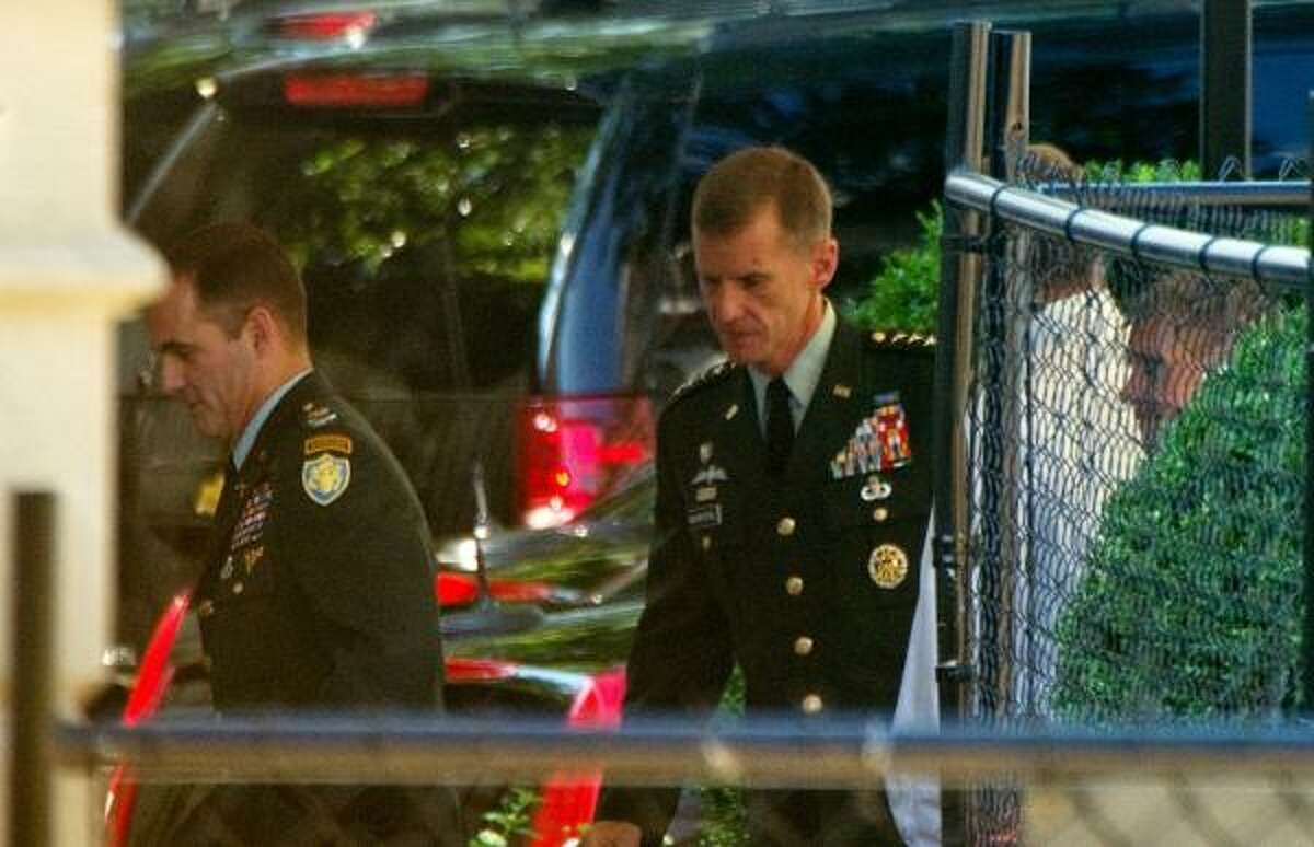 U.S. commander in Afghanistan, Gen. Stanley McChrystal arrives at the White House in Washington on June 23, 2010. President Obama is to confront the general amid speculation that the four-star general may be fired for his disparaging remarks in a magazine article.