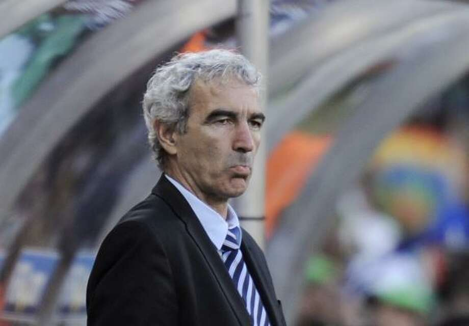 France head coach Raymond Domenech watches his team continue to implode. Photo: Martin Meissner, AP