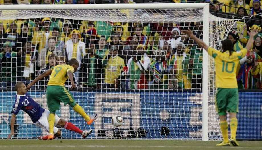 South Africa's Katlego Mphela, second from left, scores the team's second goal. Photo: Luca Bruno, AP