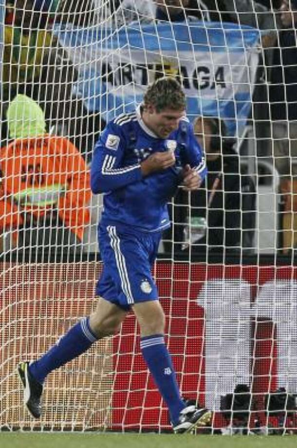 Argentine veteran Martin Palermo waited until the 80th minute to see his first World Cup action. Nine minutes later, he had his first goal. Photo: Ricardo Mazalan, AP