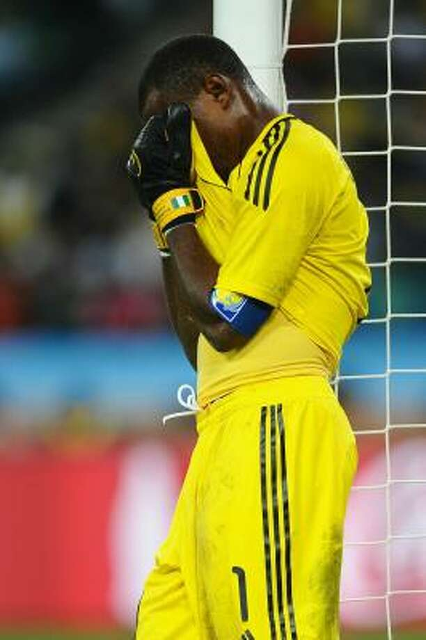 Goalkeeper Vincent Enyeama and Nigeria bid farewell to the World Cup on Tuesday. Photo: Laurence Griffiths, Getty Images