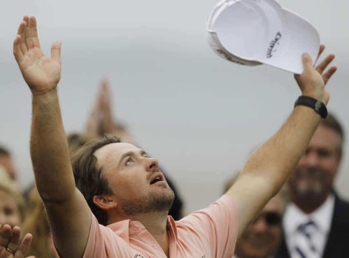 Graeme McDowell of Northern Ireland celebrates after winning the U.S. Open.