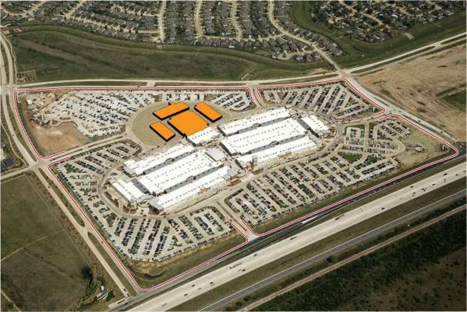 A photo illustration from the developer shows Houston Premium Outlets in Cypress and its expansion area. The 2-year-old center is adding 25 stores, to bring its total to 145. Photo: Premium Outlets: