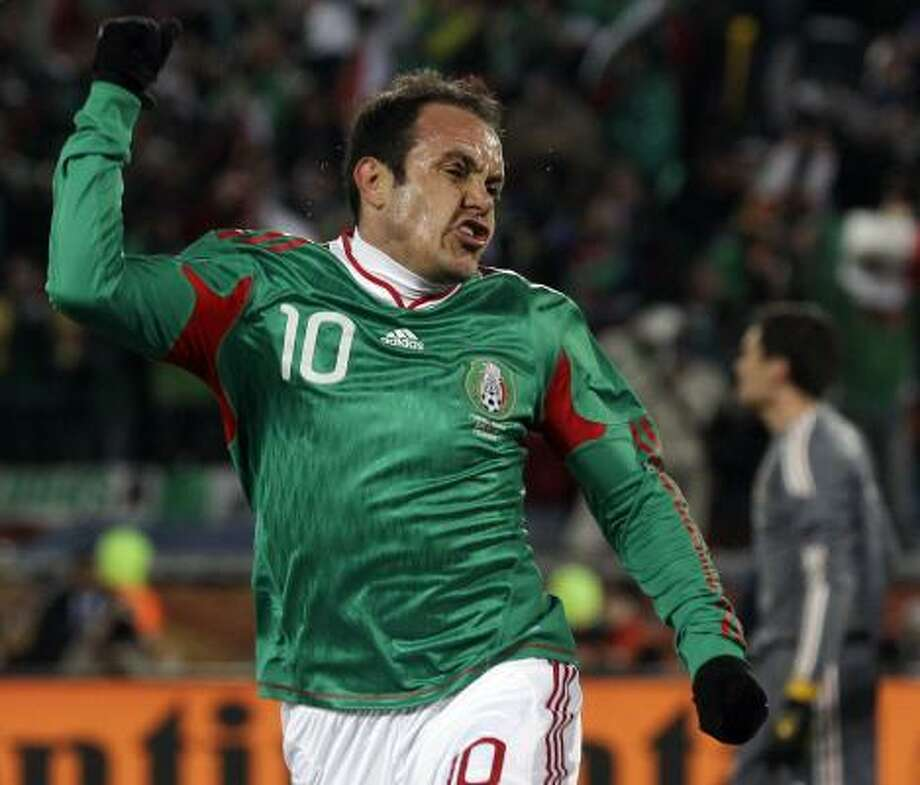MEXICO 2, FRANCE 0 Mexico's Cuauhtemoc Blanco celebrates after scoring on a penalty kick for the second goal of the match at Peter Mokaba Stadium in Polokwane. Photo: Luca Bruno, AP
