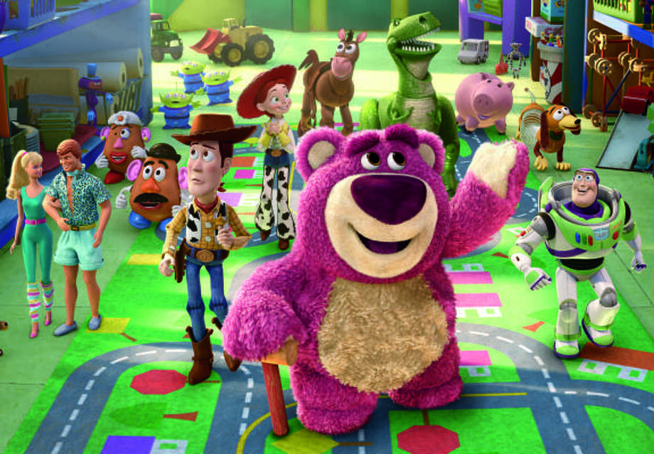 Barbie, Ken, Mrs. Potato Head, Mr. Potato Head, Aliens, Woody, Jessie, Bullseye, Lots-o-Huggin Bear, Rex, Hamm, Slinky Dog aand Buzz Lightyear tour the daycare in Toy Story 3. Photo: Disney/Pixar