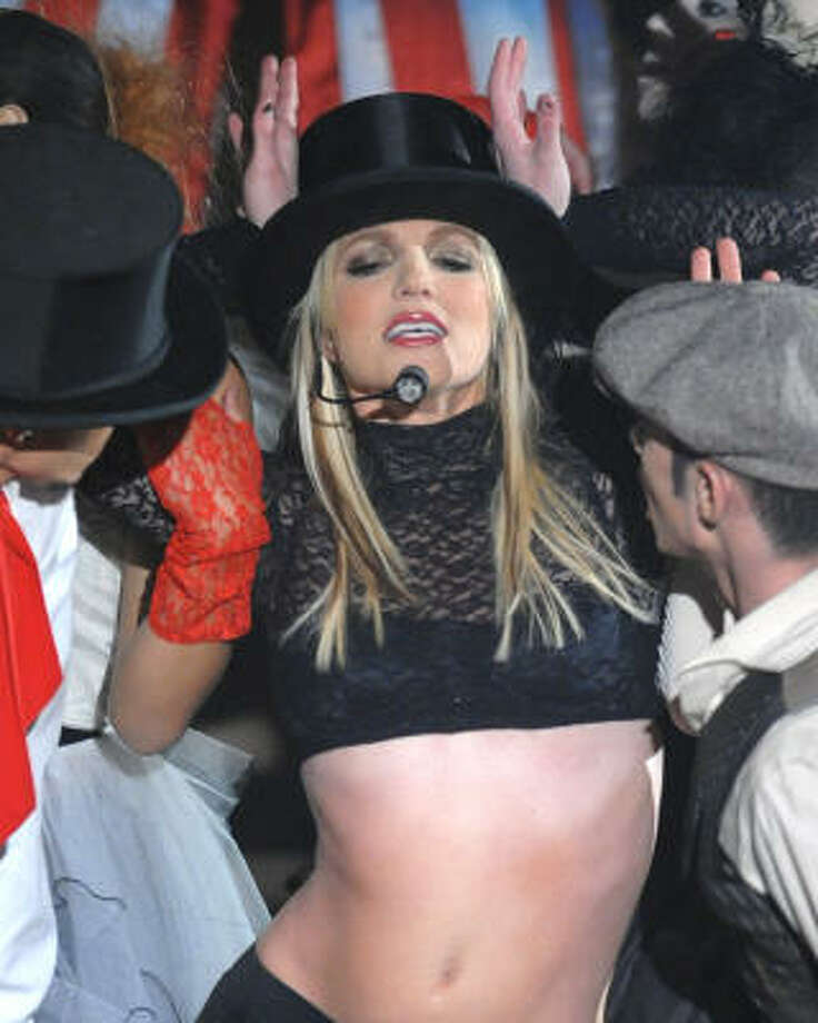 Sometime later Britney went on tour herself and strangely had the same outfit on Madonna did. Photo: Peter Kramer, AP