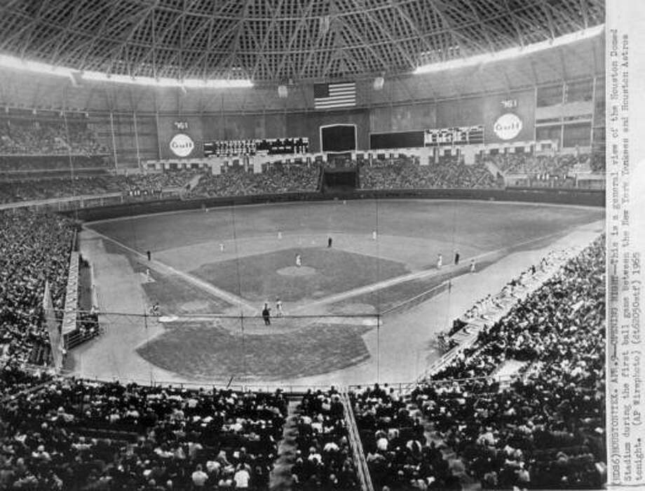 The first home run in the Astrodome was hit by Mickey Mantle off of pitcher Turk Farrell on April 9, 1965.  It was during an exhibition game between the Astros and the New York Yankees on the opening night of the Astrodome. Photo: AP