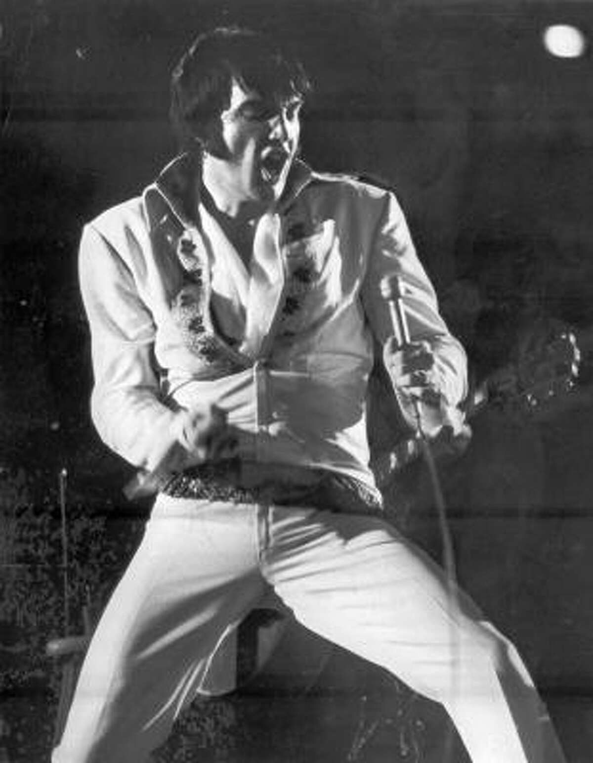 Elvis, performing at the rodeo at the Astrodome on Feb. 27, 1970, set an attendance record of 43,614 in one of five concerts here that year.