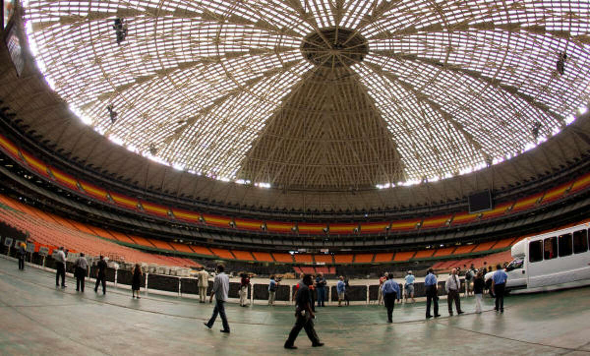 Local media and invited guests take a tour of the Astrodome as plans begin to take shape for its renovation and repurposing.