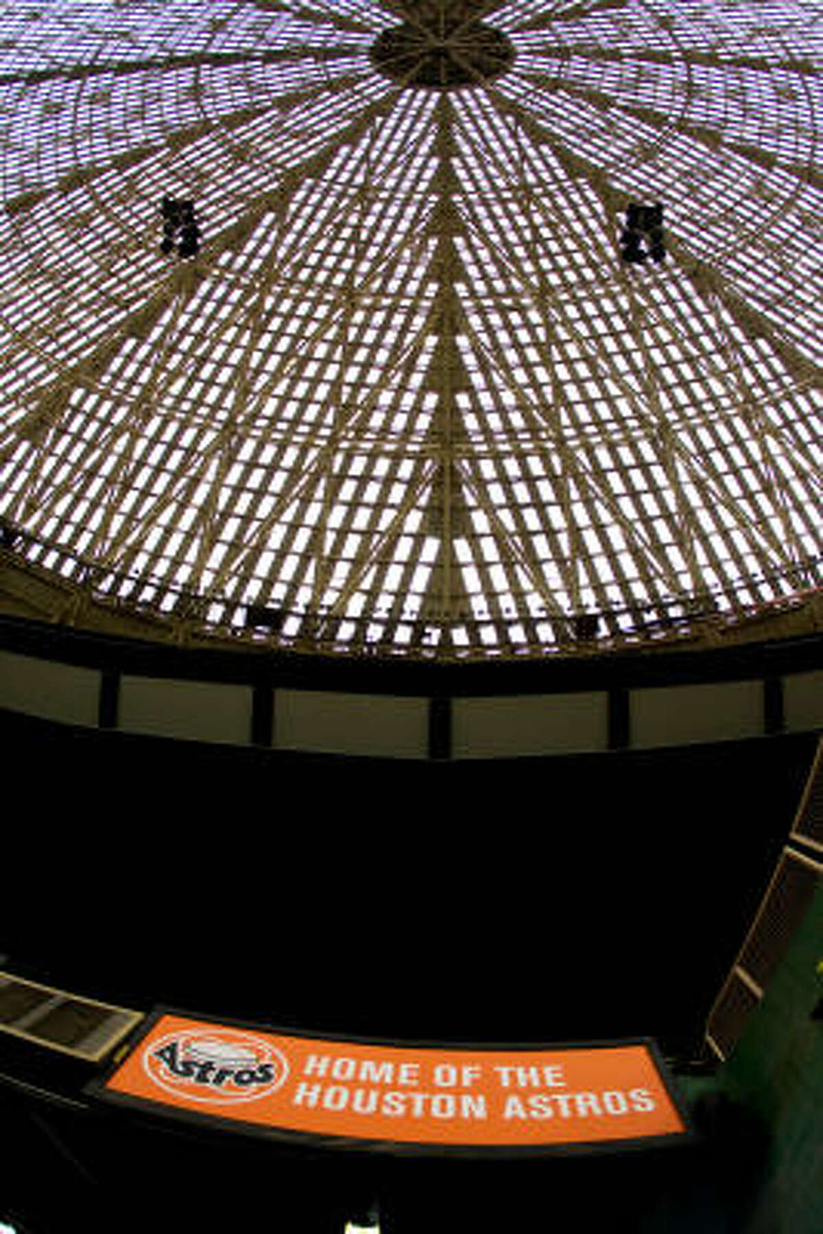 Vintage logos of yesteryear decorate Astrodome.