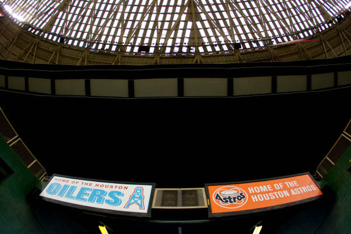 The Oilers and former Astros logos can still be seen at the Astrodome, which the Astros left in 1999.