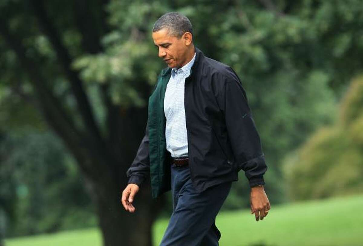 U.S. President Barack Obama walks toward Marine One while departing the White House on June 14, 2010 in Washington, D.C. President Obama is going to the Gulf Coast to assess the ongoing efforts to counter the BP oil spill.