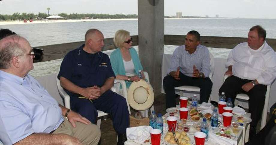 As part of President Barack Obama's two-day visit to the Gulf Coast, on Monday June 14, 2010, Obama meets with residents affected by the BP oil spill. National Incident Commander Adm. Thad Allen is second from left. Photo: Charles Dharapak, AP
