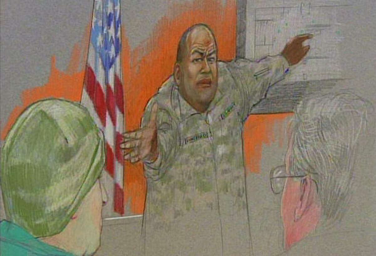 In this sketch, Sgt. Alonzo Lunsford testifies during the hearing Wednesday for Maj. Nidal Malik Hasan, left, at Fort Hood as lead defense attorney John Galligan looks on at right.