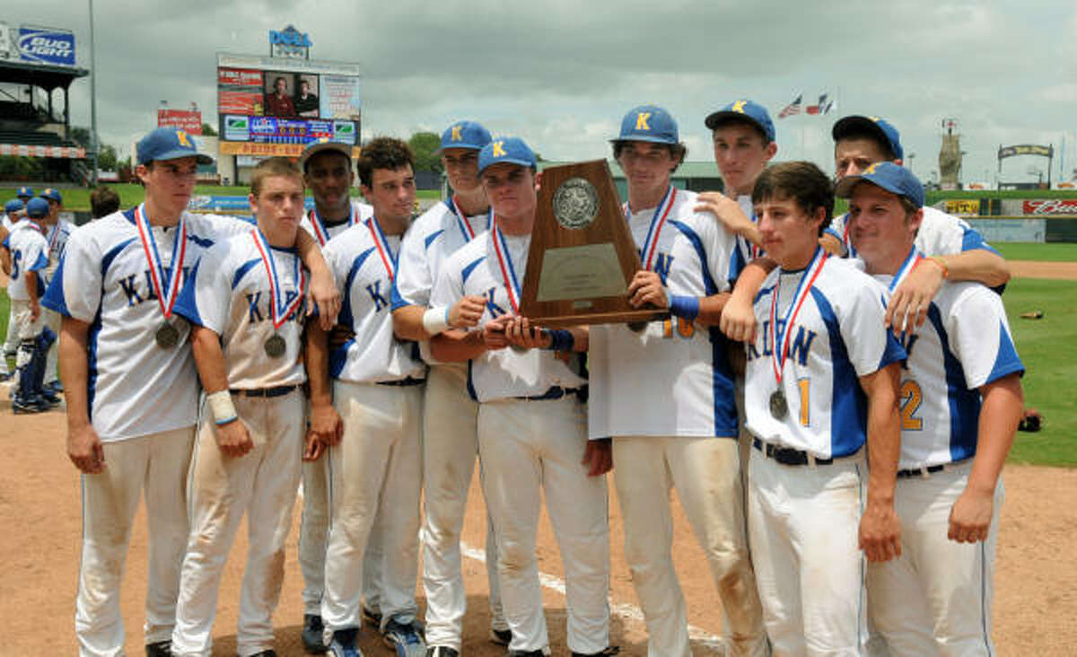 June 12: Corpus Christi Carroll 5, Klein 2 The Klein seniors hold up the Class 5A state runner-up trophy after their loss to Corpus Christi Carroll in Saturday's championship game at The Dell Diamond in Rock Rock.