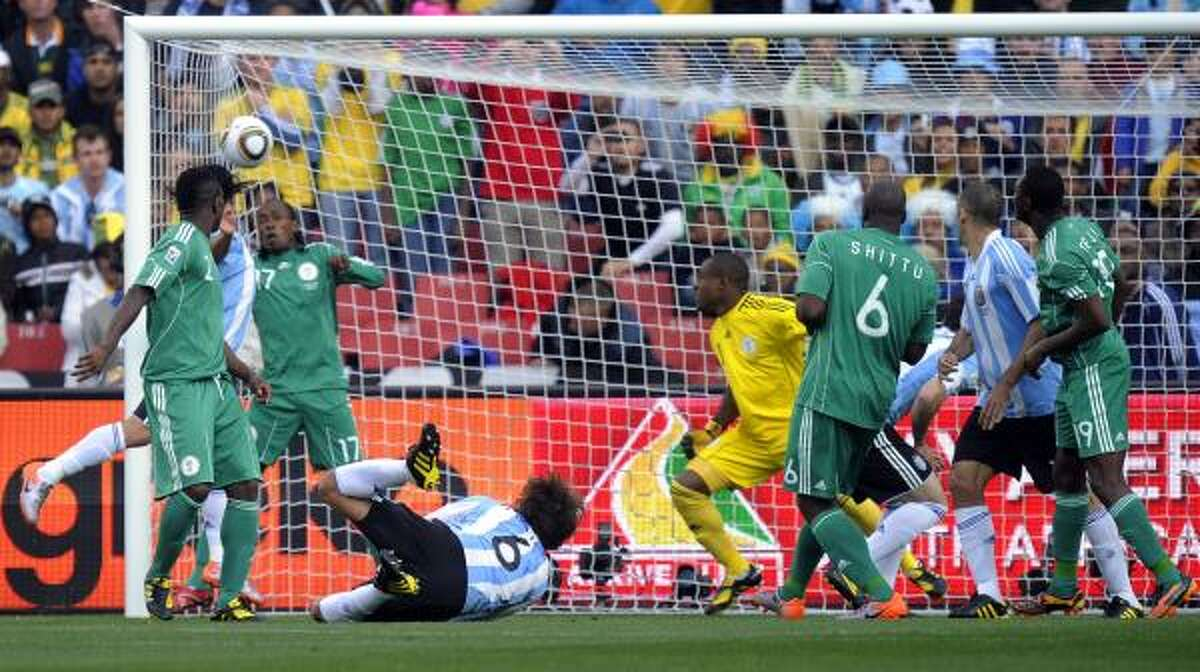 A end-line view of Heinze's goal, which found the upper corner of the net.