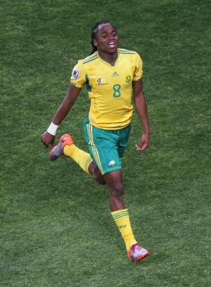 Siphiwe Tshabalala's goal touched off a joyous celebration in Soccer City Stadium. Photo: Christof Koepsel, Getty Images