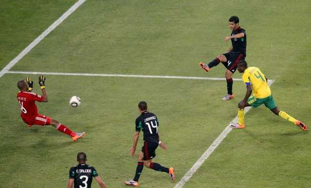 A good view of Rafael Marquez's 79th minute goal to tie the match. Photo: Luca Bruno, AP