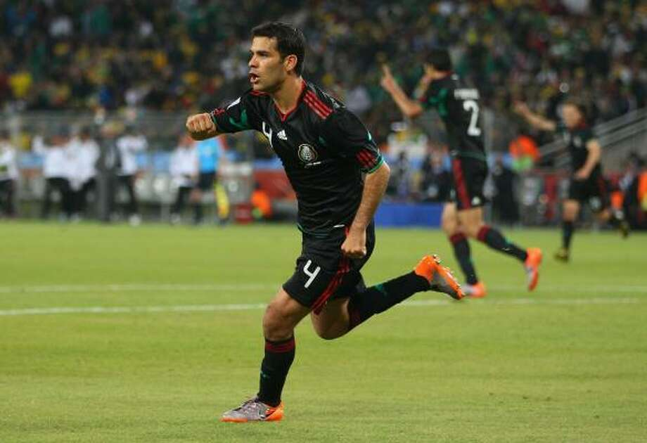 Rafael Marquez celebrates after tying the game for Mexico in the 79th minute. Photo: Michael Steele, Getty Images
