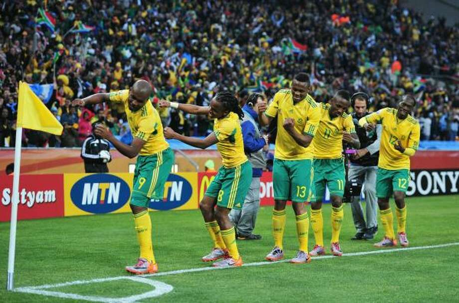 South Africa's celebration lasted for 24 minutes before Mexico pulled even. Photo: Clive Mason, Getty Images