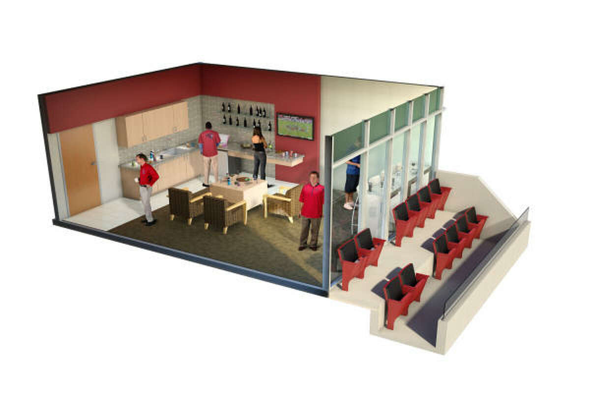 This is a cutaway view of a new luxury suite at the football facility.