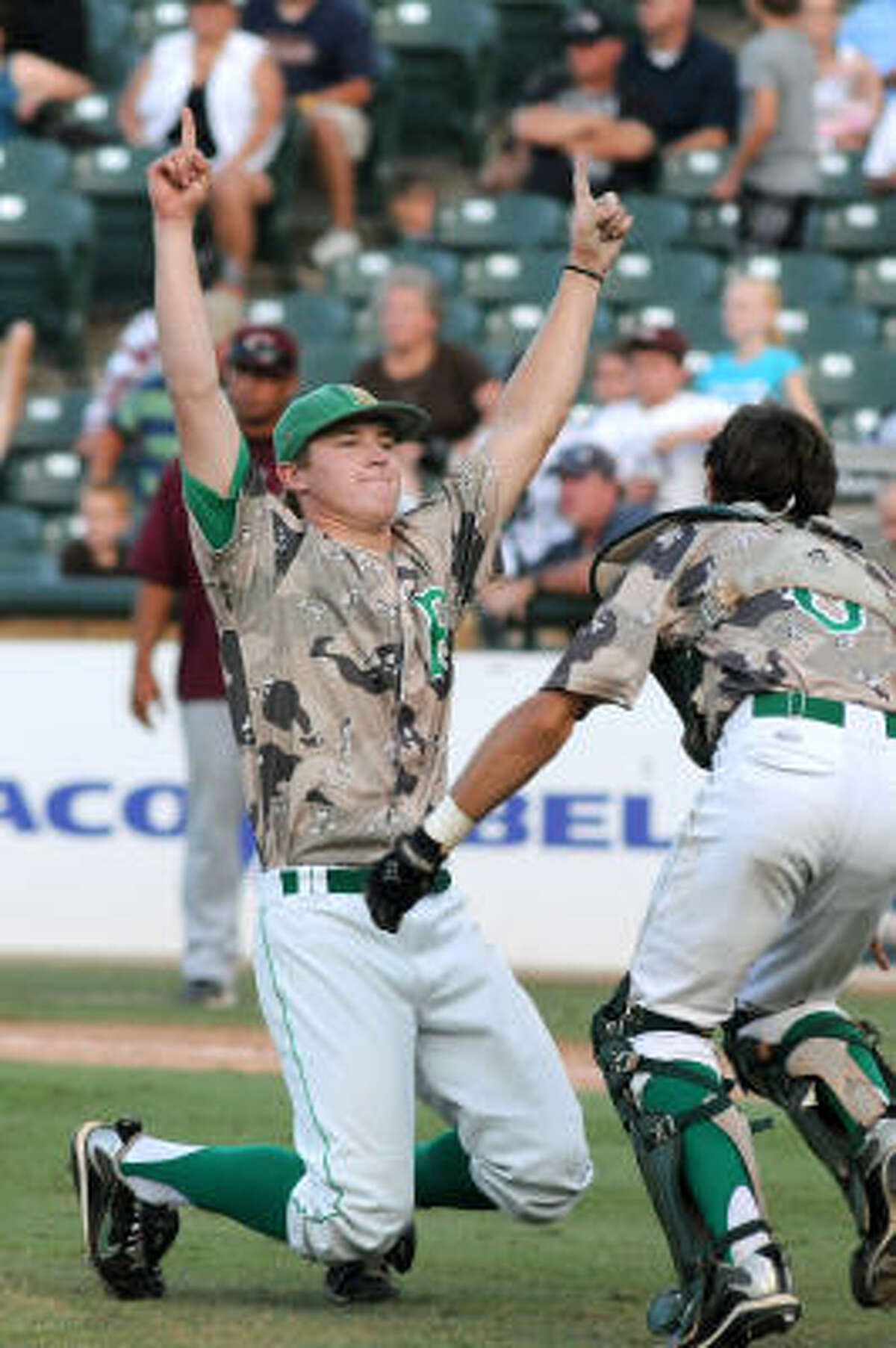 Brenham senior pitcher Chase Wellbrock celebrates after the final out of his complete game win over Corpus Christi Calallen in the Class 4A state finals game.