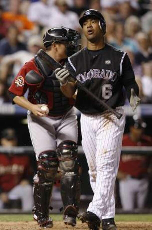 Rockies third baseman Melvin Mora reacts after striking out in the ninth inning. Photo: David Zalubowski, AP