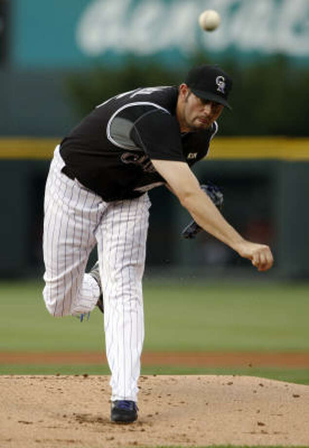 Rockies starting pitcher Jason Hammel works against the Astros in the first inning. Photo: David Zalubowski, AP