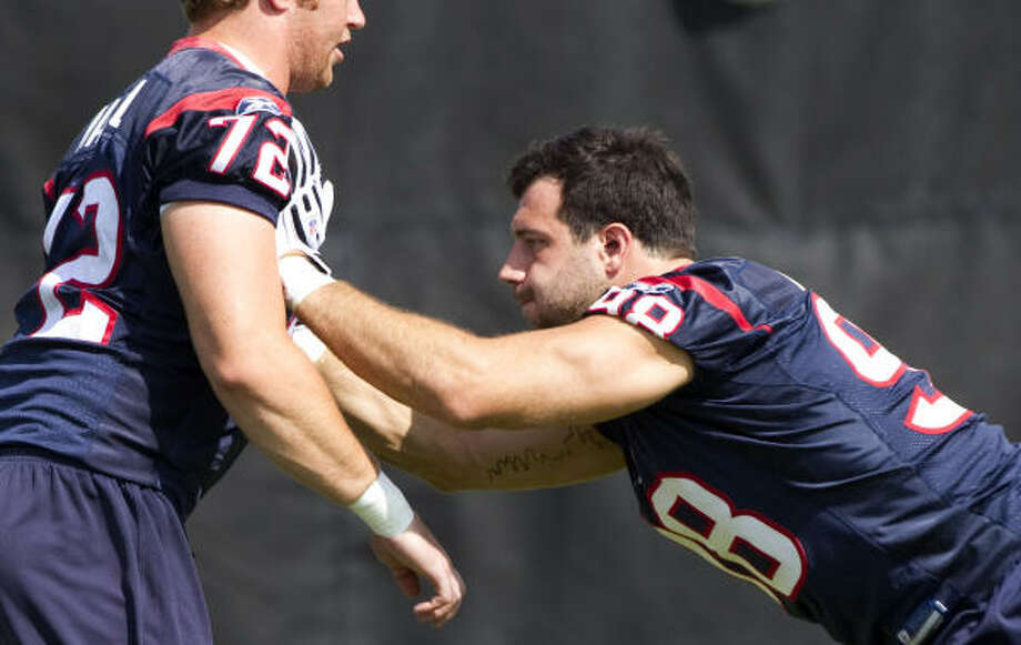At OTAs, defensive line coach Bill Kollar has seen signs of Connor Barwin's development. Photo: Brett Coomer, Chronicle